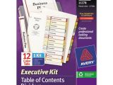 Avery 12 Tab Table Of Contents Template Superwarehouse Ready Index Customizable Executive Table