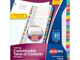 Avery 31 Tab Template Avery Customizable Table Of Contents Dividers 1 31 Tabs