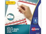 Avery 5 Tab Clear Label Dividers Template Avery Print Apply Clear Label Dividers W White Tabs 8