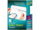 Avery 5 Tab Index Template 11436 Avery Index Maker Label Dividers White 5 Tabs Divider 5