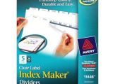 Avery 5 Tab Index Template 11446 Avery 5 Tab 11 Quot X 8 5 Quot Clear Label Punched Dividers 25