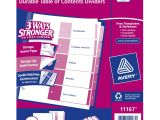 Avery 5 Tab Table Of Contents Template Avery Ready Index Table Of Contents Dividers 5 Tab