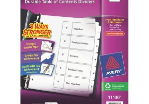 Avery 5 Tab Template 11130 Avery 1 to 5 Tab Index Divider White 1ea 6xvx0 11130