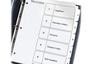 Avery 5 Tab Template 11130 Avery 11130 Black White Table Contents Dividers W Tabs 5