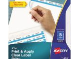 Avery 5 Tab Template 11130 Avery 5 Tab Clear Label Dividers Template