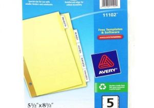 Avery 5 Tab Template 11130 Avery 5 Tab Clear Worksaver Insertable Tab Dividers 11102