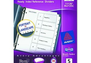 Avery 5 Tab Template 11130 Avery Dennison Insertable Tab Divider Index Binder Ltr