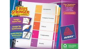 Avery 5 Tab Template 11187 Avery Ready Index Table Of Contents Dividers assorted