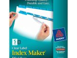 Avery 5 Tab Template 11416 Avery Index Maker Clear Label Dividers Easy Apply Label