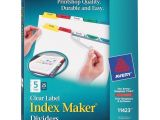 Avery 5 Tab Template 11423 Avery 11423 Index Maker Clear Label Dividers 5 X Divider S