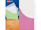 Avery 5 Tab Template 11423 Avery Big Tab Insertable Plastic Dividers with Pockets 5