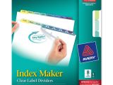 Avery 8 Tab Clear Label Dividers Template Avery 8 Colored Tabs Presentation Divider Ave11991
