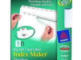 Avery 8 Tab Index Maker Clear Label Divider Template Avery Big Tab Index Maker Clear Label Dividers White 8