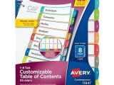 Avery 8 Tab Table Of Contents Template Avery Ready Index Customizable Table Of Contents