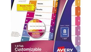Avery 8 Tab Template 11133 Avery 11133 Ready Index 8 Tab Multi Color Table Of