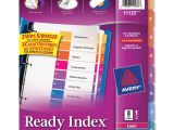 Avery 8 Tab Template 11133 Avery 11133 Ready Index Table Cont Dividers W Color Tabs 8
