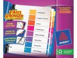 Avery 8 Tab Template 11133 Avery Index Divider Numbered 8 Tabs Multicolor 11133
