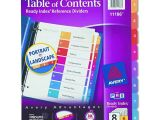 Avery 8 Tab Template 11186 Avery Dennison Table Of Contents Divider Index Binder