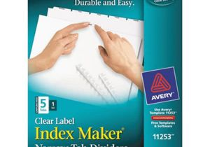 Avery Clear Label Dividers 5-tab Template Avery 11253 Index Maker Narrow 5 Tab White Unpunched