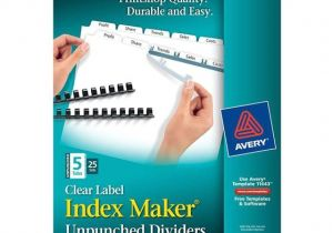 Avery Clear Label Dividers 5-tab Template Avery 11443 Clear Label Index Maker Unpunched Dividers