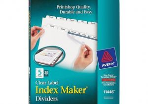 Avery Clear Label Dividers 5-tab Template Avery 11446 Clear Label Index Maker Dividers nordisco Com