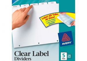 Avery Clear Label Dividers 5-tab Template Avery Index Maker Clear Label Divider 5 X Tab Blank 25