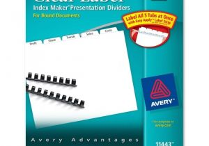 Avery Clear Label Dividers 5-tab Template Avery Index Maker Clear Label Divider 5 X Tab Blank