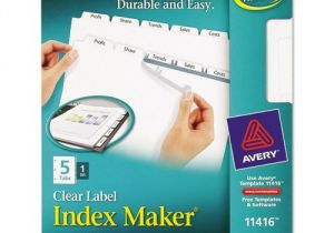 Avery Clear Label Dividers 5-tab Template Avery Index Maker Clear Label Dividers 5 Tab Letter