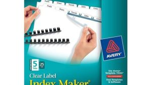 Avery Clear Label Index Maker Dividers 5 Tab Template Avery 11443 Clear Label Index Maker Unpunched Dividers