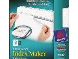 Avery Easy Apply 8 Tab Template Avery 11437 Index Maker Print Apply Clear Label Dividers