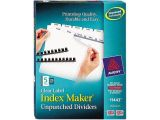 Avery Index Maker 5 Tab Template 11443 Avery 11443 Index Maker Clear Label Unpunched Divider 5