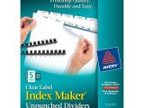 Avery Index Maker 5 Tab Template 11443 Avery Index Maker Unpunched Label Dividers White 5 Tabs