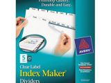 Avery Index Maker 5 Tab Template 11446 Avery 11446 Index Maker 5 Tab Divider Set with Clear Label