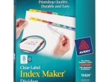 Avery Index Maker 8 Tab Template Avery Index Maker Punched Clear Label Tab Divider