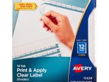 Avery Index Maker Clear Label Dividers 12 Tab Template Avery Index Maker Clear Label Dividers White 12 Tabs