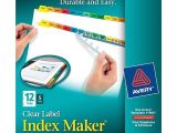 Avery Index Maker Clear Label Dividers 12 Tab Template Avery Index Maker Clear Label Tab Dividers 12 Tab