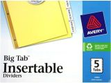 Avery Inserts for Dividers 5 Tab Template Avery 5 Tab Clear Dividers Buff Paper Worksaver Big Tab
