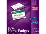 Avery Name Badge Template 74549 Avery Pin Style Name Badges 2 25 X 3 5 In Clear White