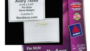 Avery Pin Style Name Badges 74549 Template Avery 74549 Pin Style Name Badges
