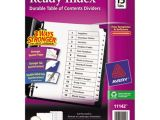 Avery Ready Index 15 Tab Template Avery Ave11142 Ready Index 15 Tab White Table Of Contents
