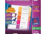 Avery Ready Index 5 Tab Table Of Contents Template Avery Ready Index Table Of Contents Dividers assorted
