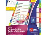 Avery Ready Index 8 Tab Color Template Avery Ave11841 Ready Index 8 Tab Multi Color Customizable
