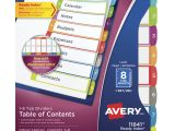 Avery Ready Index 8 Tab Color Template Avery Ready Index Table Of Contents Dividers 8 Tabs