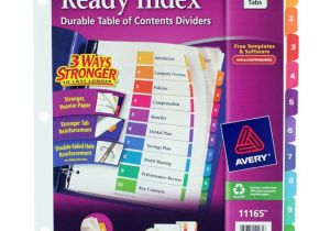 Avery Ready Index Divider Templates 8 Tab Avery Ready Index Customizable Table Of Contents asst