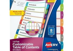 Avery Ready Index Divider Templates 8 Tab Avery Ready Index Customizable Table Of Contents