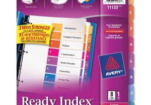 Avery Ready Index Divider Templates 8 Tab Avery Ready Index Dividers 1 8 Tab asst Ld Products