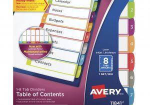 Avery Ready Index Divider Templates 8 Tab Avery Ready Index Table Of Contents Dividers 8 Tabs