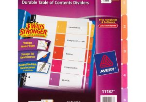 Avery Ready Index Divider Templates 8 Tab Avery Ready Index Table Of Contents Dividers assorted