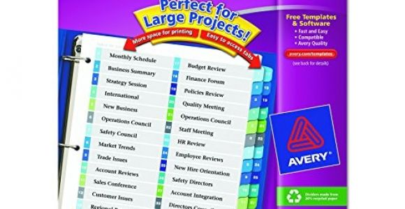 Avery Ready Index Double Column Dividers 32 Tabs Template Avery Ready Index Double Column Table Of Contents Dividers