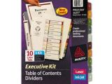 Avery Ready Index Template 10 Tab Avery 11277 Ready Index Contents Dividers 10 Tab 1 10